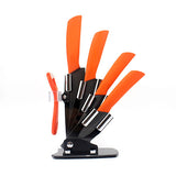"High quality brand black blade kicthen ceramic knife set 3"" 4"" 5"" 6""inch+peeler+Acrylic Holder/stand Chef Kitchen knife"