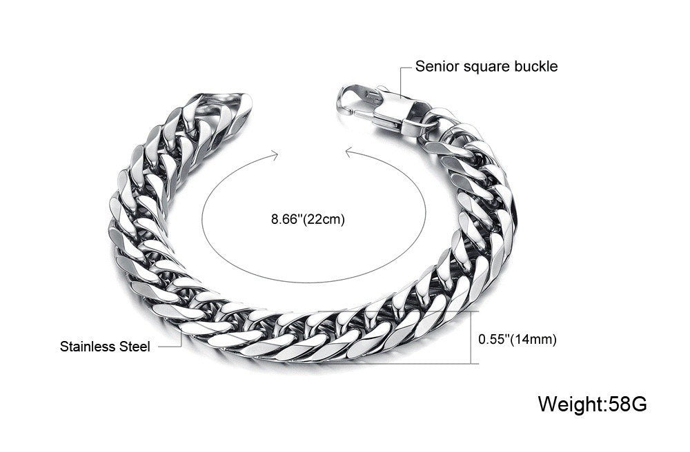 Punk Style 316L Stainless Steel Mens Bracelet Classical Biker Bicycle Heavy Metal 14MM Link Chain Jewelry Bracelets For Men