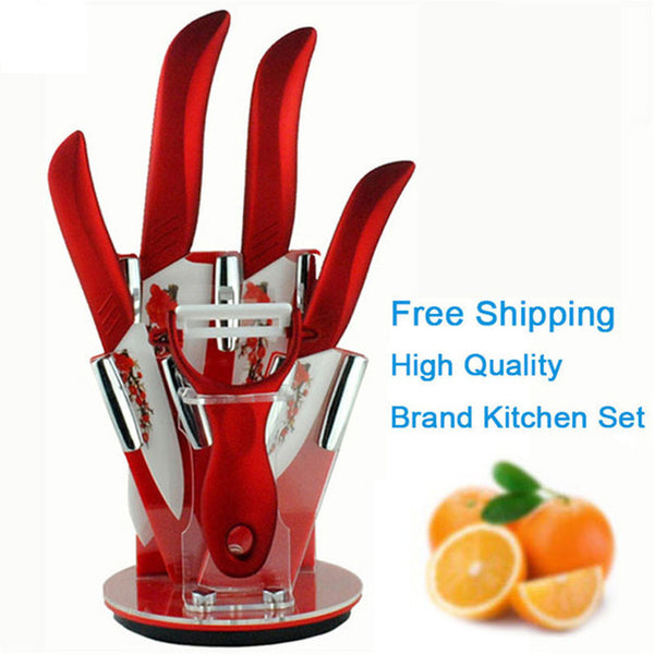 "Beauty Gifts brand high quality 6 piece a set Zirconia kitchen set Ceramic Knife tool Set 3"" 4"" 5"" 6"" inch + Peeler+Holder"