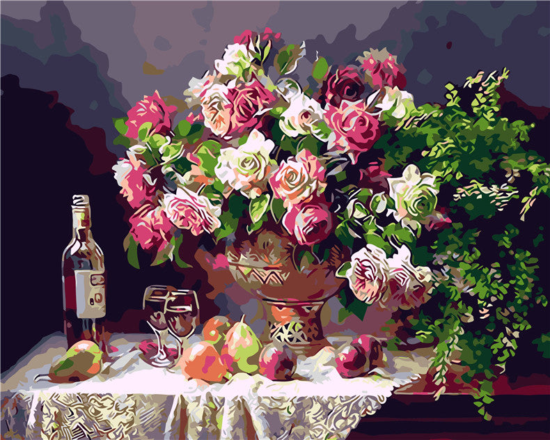 Flower basket vase Digital Painting picture drawing  Painting by numbers oil paintings chinese scroll paintings Home Decoration
