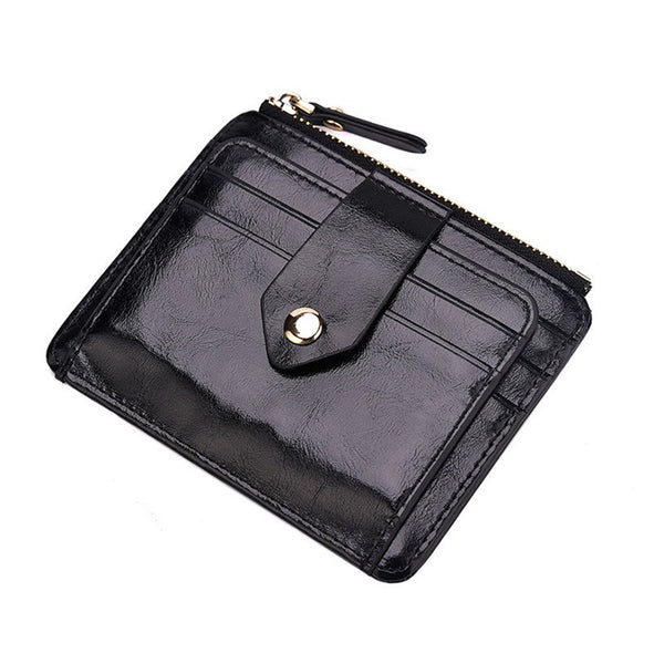 Anti-magnetic Creative RFID leather zipper purse PU leather clutch Card & ID Holders men's money clamps