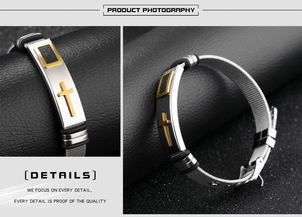 CIFBUY Punk Cross Bracelet For Men Length 16.5-21 CM Mesh Strap Band Stainless Steel Black/ Gold Color Male Wrap Bracelets GH878