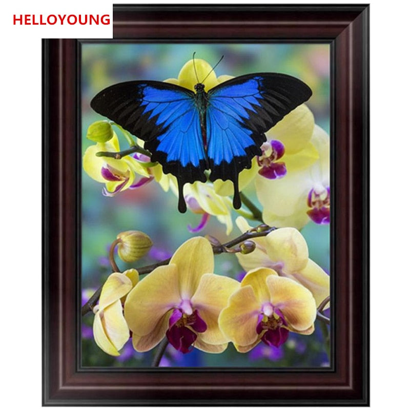 DIY 5D Partial Diamond Embroidery blue butterfly Round Diamond Painting Cross Stitch Kits Diamond Mosaic Home Decoration