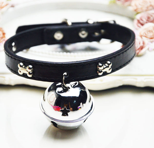 Puppy Dogs Collar Bell PU Leather Cat Supply Collars Pet Neck Strap Bone with big bell diameter 4cm pet dog cat accessories
