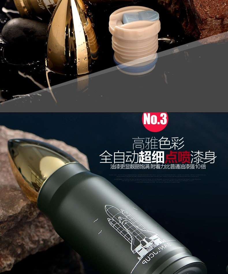 CJ015 Rocket bullet bullet vacuum insulation bottle outdoor portable bottle creative bottles Drinking water bottle Drinkware
