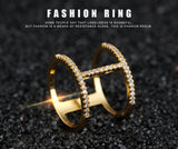 CIFBUY New H Shape Rings For Women Gold Color Micro Paved Zirconia Vintage Statement Band Party Dating Jewelry Gift, KJ050