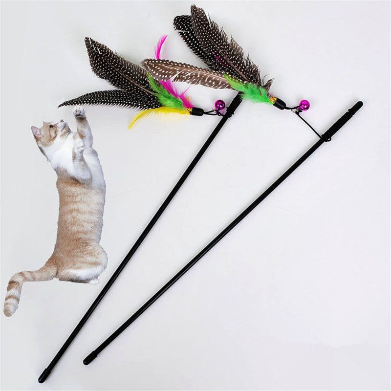 1 pcs Colorful Multi Pet Cat Toys Cute Design Bird Feather Teaser Wand Plastic Pet Toys Products For Cat Toy CSV Drop Shipping