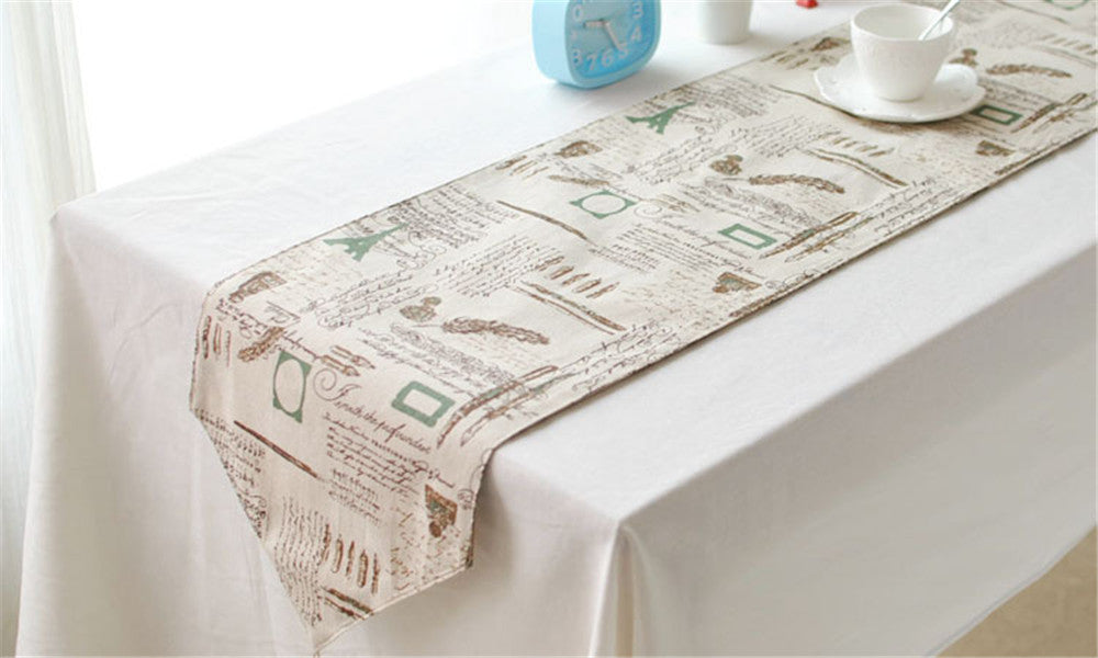 BZ384 American Country Tower Customized cotton ancient British style decoration cabinet's gift linen table runner