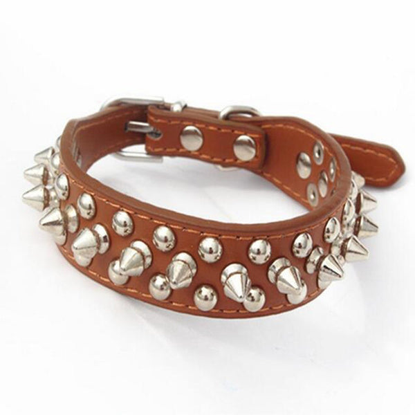 CW016 Adjustable Small Dog Collar Harness Spiked Studded Faux Leather punk rivet dog collar PU round nail dog chain pet supplies