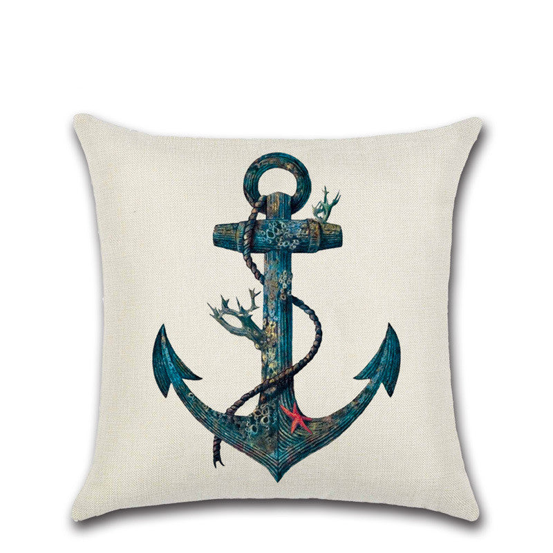 vintage cushion covers Marine Style Hand Painted Ship Almofadas 45Cmx45Cm Square Home Decor 1 Side Printing Outdoor Pillows