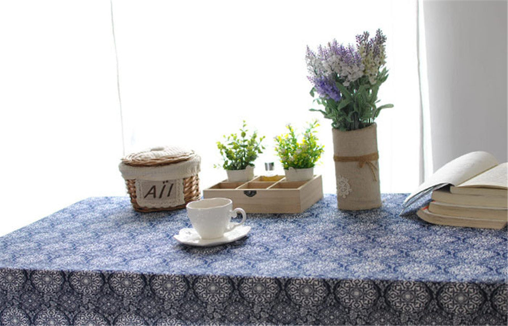 BZ315 Neo-classical style of Japanese blue printed table cloth cover home cooking tea towel cotton table cloth