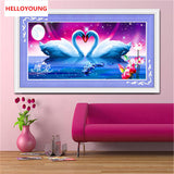 DIY 5D Diamonds Embroidery Only Love Two swans Magic cube Round Diamond Painting Cross Stitch Diamond Mosaic Home Decor