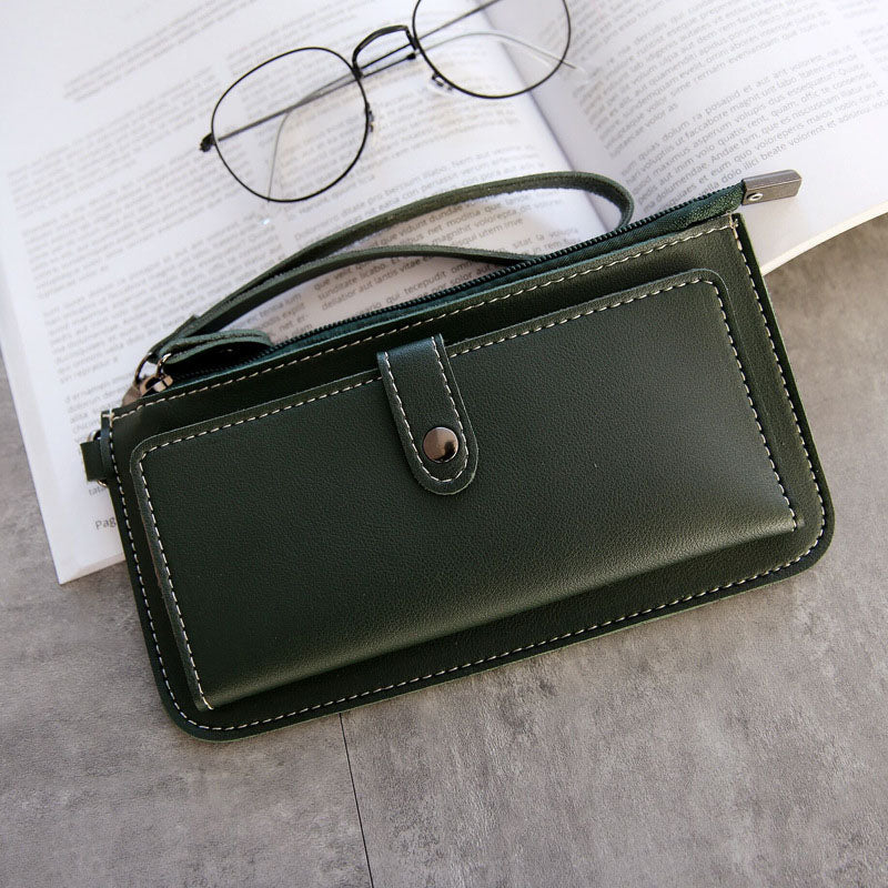 Women's Purse High Quality PU Leather Women's Wallet Zipper Bag Vintage Female Wallet Purse Fashion Card Holder Phone Bag