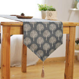 BZ379 New Modern Style Linen Cotton Table Runner Irregular Decoration Plant Printed Cloth Table Runners With Tassel