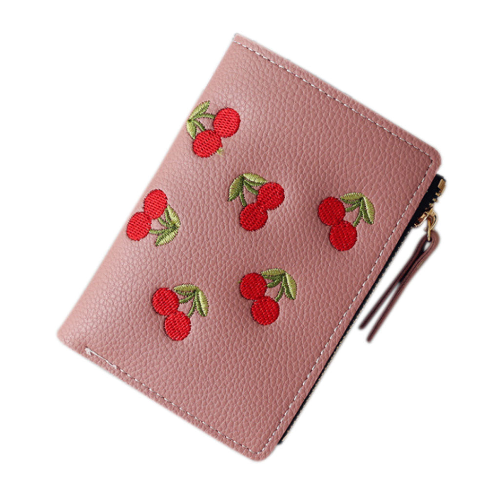 Fashion Women Short Wallet PU Leather Cherry Embroidery Coin Purse Card Holders Lady Girl Mini Money Bag BS88