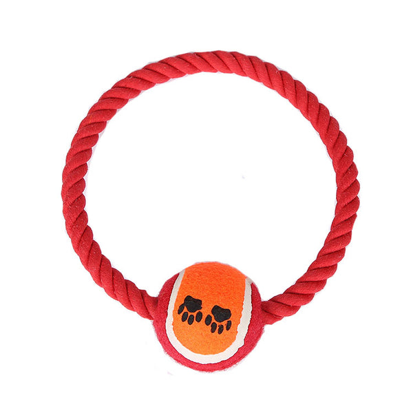 Pet Dog Toys Cotton Braided Rope Knotted Rope Dog Toys Tennis Ball Chew Bite Cat Pet Toy Playing Rope Ring Interactive Toy Ball