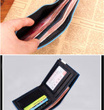 Fashion hit color men's wallet vertical short section high-quality PU genuine Color purse Card & ID Holders money clamps