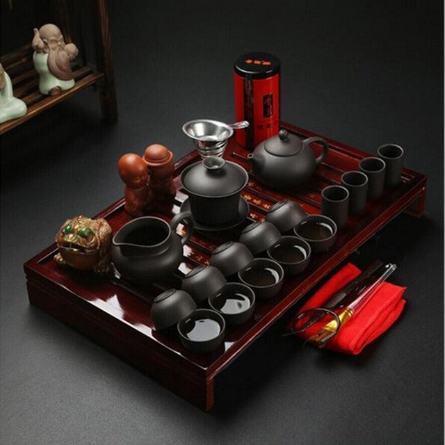 CJ185 Chinese Kung Fu Tea Set Drinkware Purple Clay ceramic Binglie three options include Tea pot Cup Tureen Infuser TeaTray