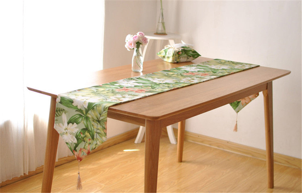 BZ390 French high-grade cotton table runner pastoral countryside large flower table coffee table TV cabinet