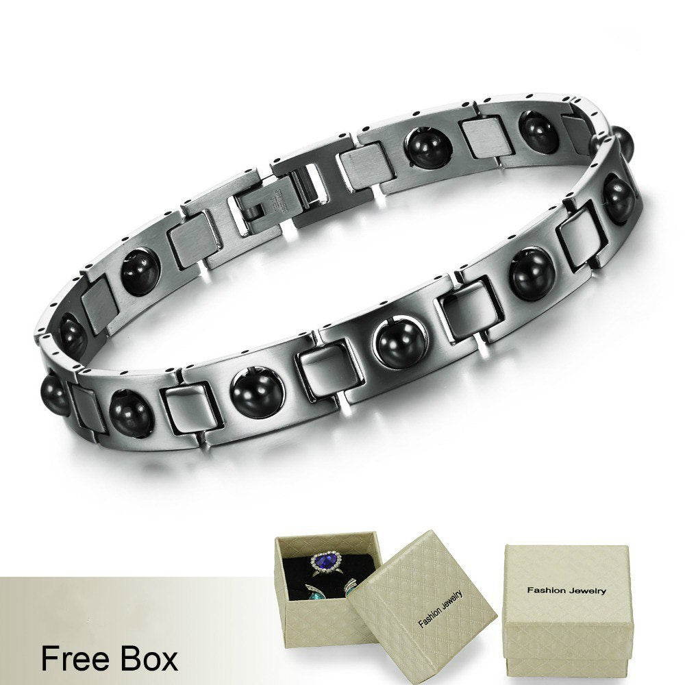 CIFBUY Men's Stainless Steel Magnetic Bracelets High Quality Health Care Balance Bracelets Trendy Style Men Jewelry GS635