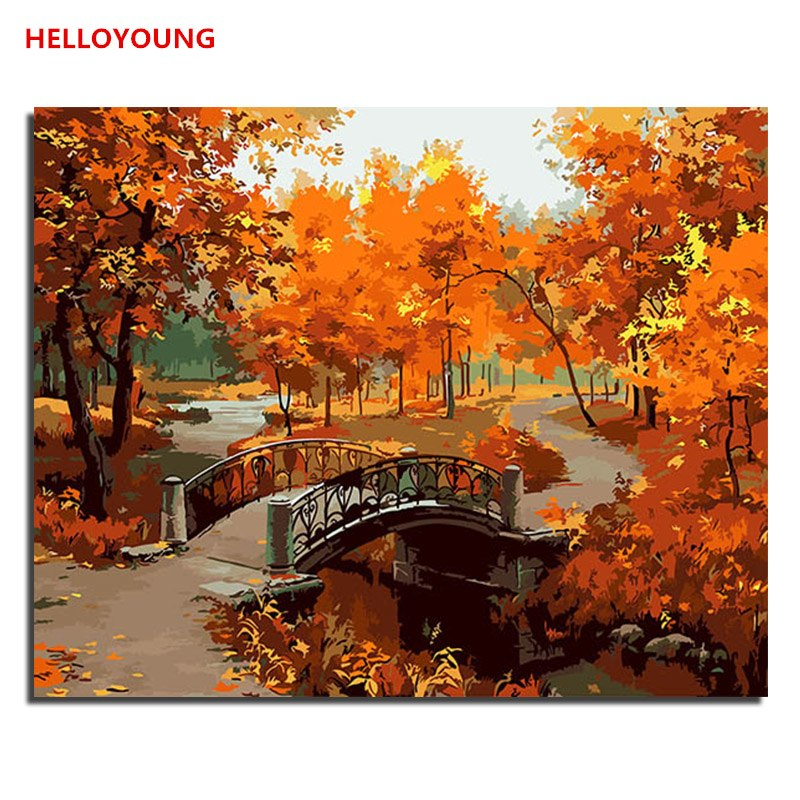 HELLOYOUNG DIY Handpainted Oil Painting Maple Leaf Digital Painting by numbers oil paintings chinese scroll paintings