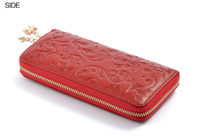 Fashion Genuine Leather Women Long Purse Flower Embossing Female Zipper Wallet Money Clips Woman Cards Purse
