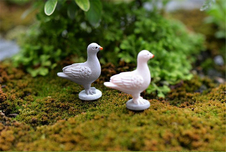 XBJ149 Mini 8pcsPeace Dove decoration supplies moss micro landscape deco  Garden deco Creative handicrafts