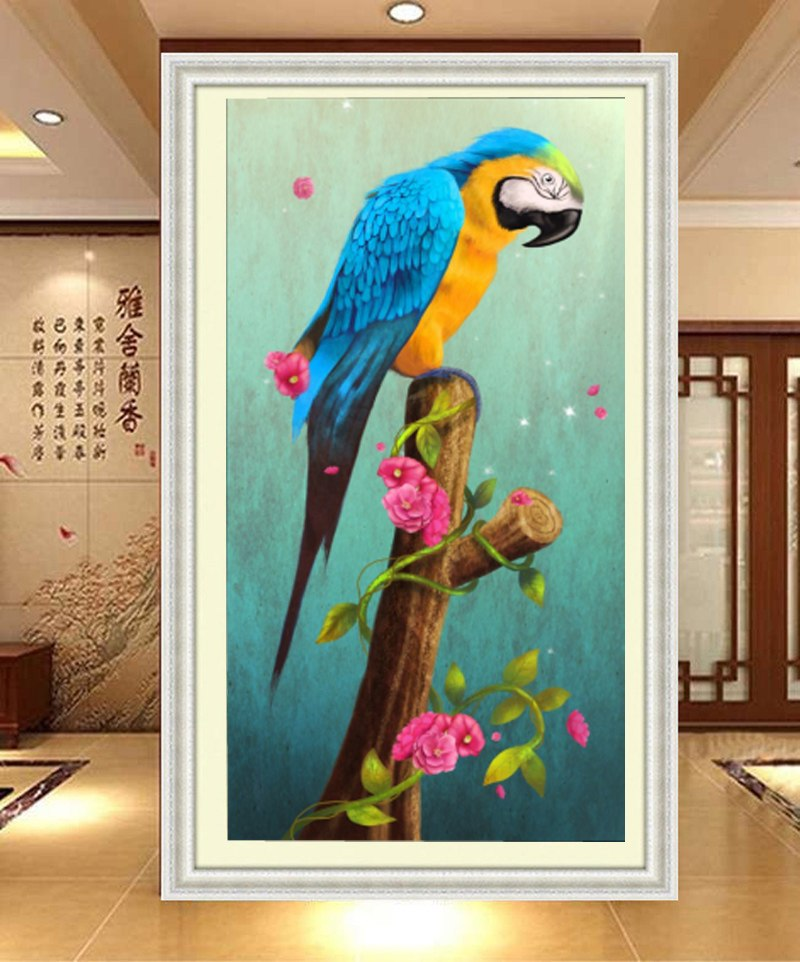DIY 5D Diamond Embroidery The Parrot Round Diamond Painting Cross Stitch Kits Mosaic Painting Home Decoration