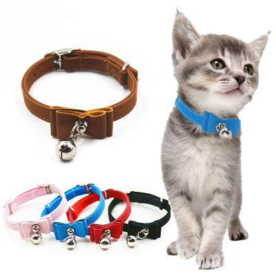 1Pcs Adjustable Dog Collar Cat Pet Cute Bow Tie With Bell Puppy Collar for Small Dog Adjustable Pet Animals Neck Chain