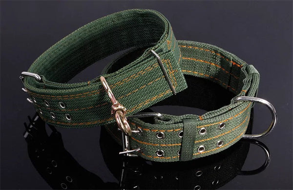 Army Green Canvas Pet Dog Collar Neck Strap Adjustable dog Cat Strap Collar for Medium Large Dog Golden Goode Cattle Collar