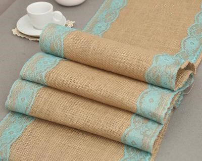 "7Pcs/Lot Vintage Burlap Lace Hessian Table Runner Classical Natural Jute Country Party Wedding Decoration 12x108"" Table Cloth"