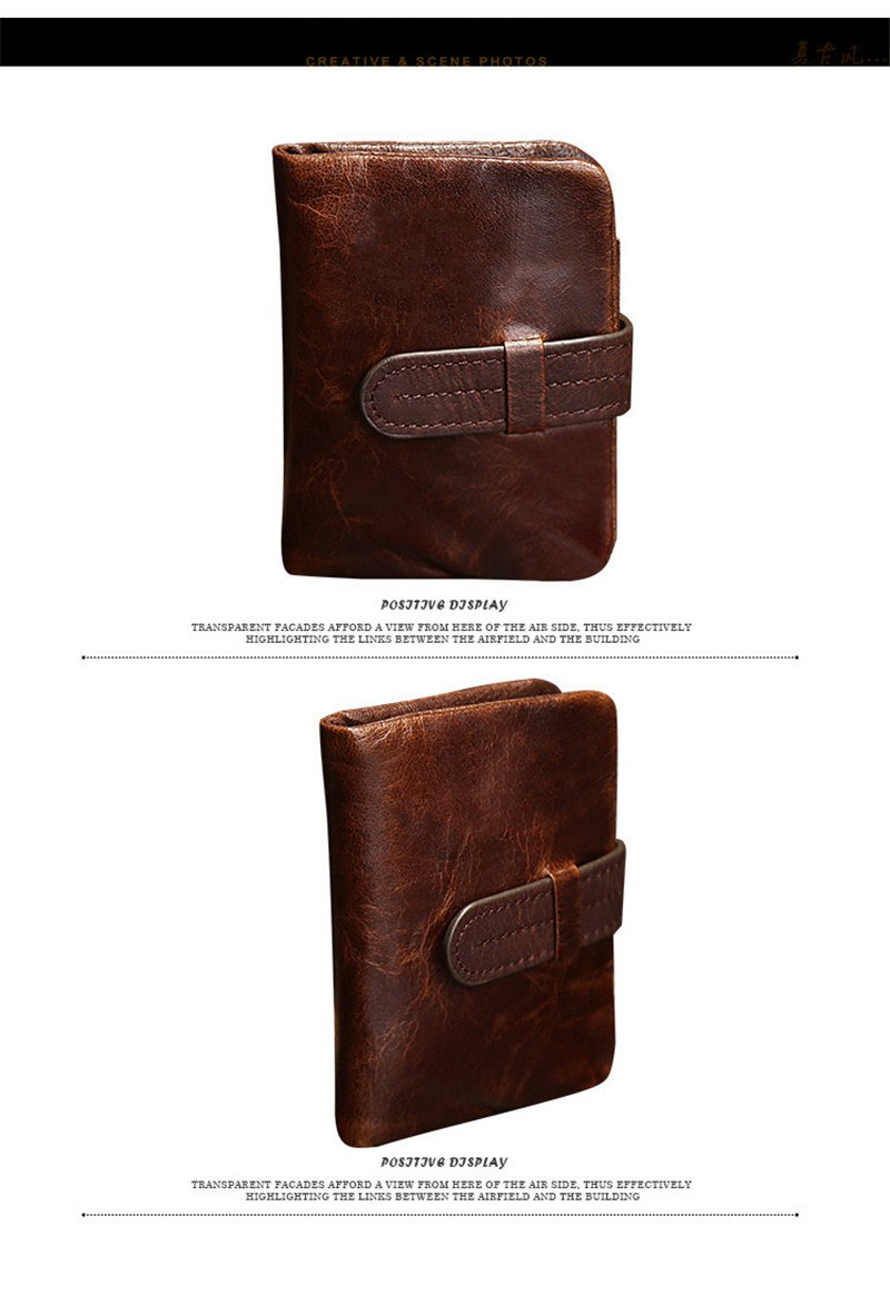 Short fold oil wax leather leisure wallet retro fashion wallet handbag High-quality genuine leather men's wallets