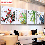 DIY 5D Diamond Mosaic Plum Orchid Bamboo Chrysanthemum flowers Diamond Painting Cross Stitch diamond embroidery