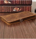 Men's Wallet Crazy Leather retro leather long wallet large capacity casual fashion clutch bag High-quality Cow leather