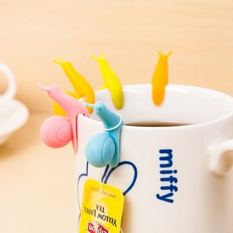 CJ058 Cute Snail Shape 10 pcs/Set Tea Bag Clip Cup Mug Tea Infusers Strainer Clips Party Decor Silicone Tea Bag Holder