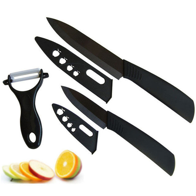 Super quality black blade Ceramic knife 3pcs Set 3 inch+5 inch+peeler +covers Ceramic Knife Sets Kitchen Knife