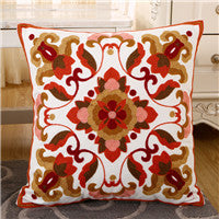 BZ129 Luxury Cushion Cover Pillow Case Home Textiles supplies Lumbar Pillow National color incense Embroidery pillows chair seat