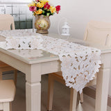 HELLOYOUNG Vintage White Embroidered Rose Cutwork Table Runner Wedding Banquet Party Home Decor 4 Size