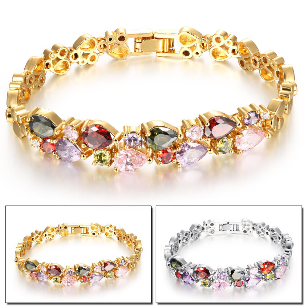 Multicolor Cubic Zirconia Mona Lisa Woman Bracelets Vintage Gold Color Heart Design Women Link Chain Jewelry Gift KS950