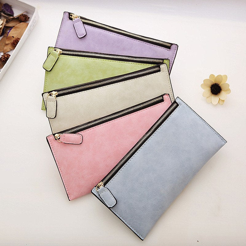 PARIS Women's Purse Ladies Wallet Long Money Bags Simple Style Coin Purse Leather Thin Wallets Female Card Holder Solid
