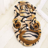 Winter Dog coats small dog clothes Warm jumpsuit Flannel Fabric Clothes for Small Dog shih tzu Tiger Leopard Design Pet Clothes
