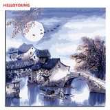 HELLOYOUNG Digital Painting DIY Handpainted Oil Painting Night moonlight by numbers oil paintings chinese scroll paintings