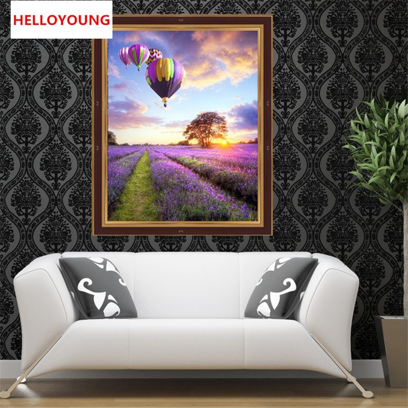 DIY 5D Full Diamonds Embroidery Diamond Mosaic Lavender flowers and hot-air balloon Round Diamond Painting Cross Stitch