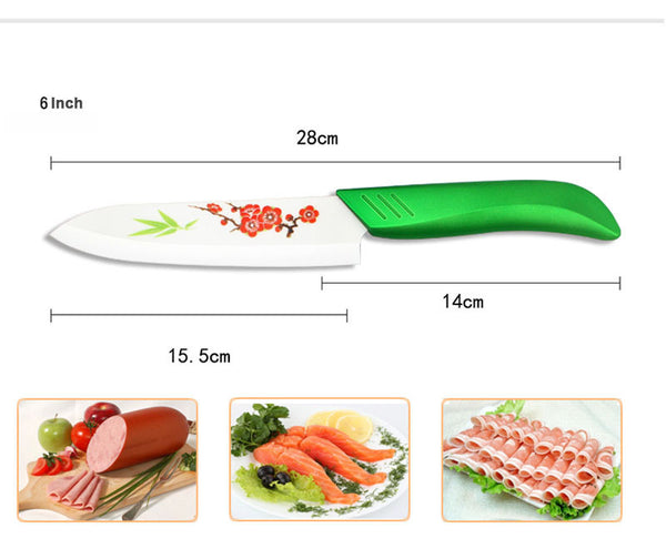 "Beauty Gifts Zirconia green light kitchen Ceramic fruit Knife Set 3"" 4"" 5"" 6"" inch with Flower painted+ Peeler+Covers"