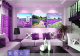 DIY 5D Diamonds Embroidery Three Lavender Landscape Magic cube Round Diamond Painting Cross Stitch Kits Diamond Mosaic