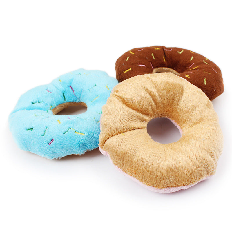 1 pcs Funny Pet Dog Chew Throw Toys Cute Donuts Puppy Cat Squeaker Squeaky Plush Sound Dogs Toys Squeaky Pets Products