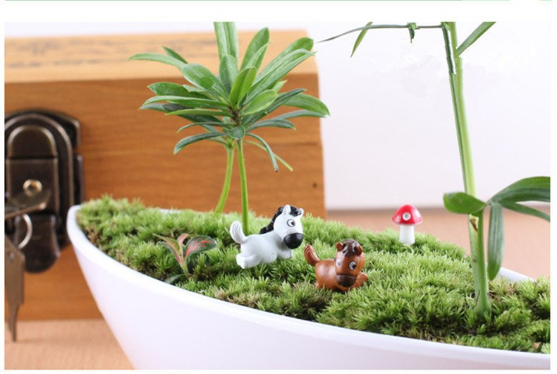 XBJ109 Mini 6PCS pony decor supplies moss micro landscape deco  Garden deco Creative handicrafts
