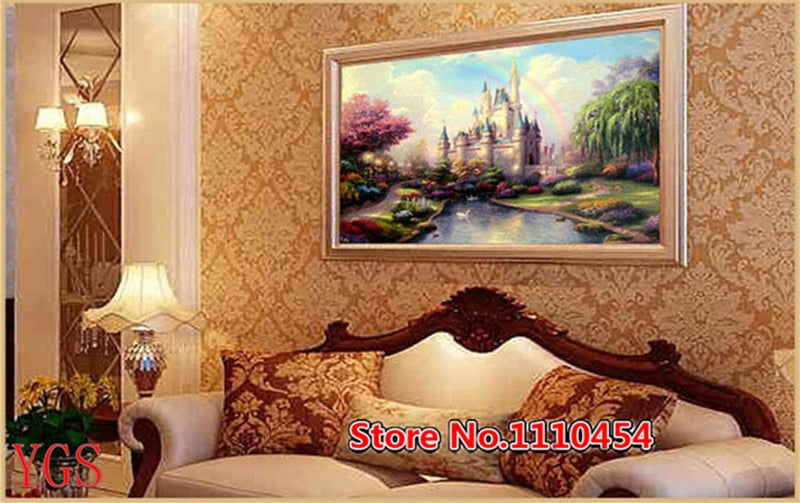 DIY Diamonds Embroidery Fairytale castle Landscape 5D Magic cube Round Diamond Painting Cross Stitch Kits Diamond Mosaic