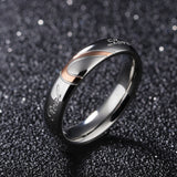 CIFBUY JEWELRY 316L Stainless Steel Silver Half Heart Simple Circle Real Love Couple Ring Wedding Rings Engagement Rings