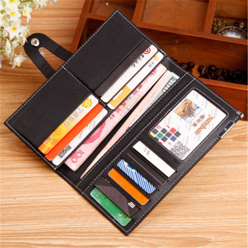 New Fashion High quality PU leather clutch mal leather Wholesale Long wallet soft leather buckle card package